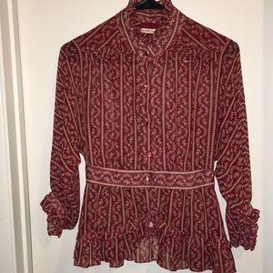 Nanette Lepore slinky sheer blouse sz S